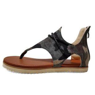 Women's Zipper Flip-Flops Cloth Flat Heel Sandals_5