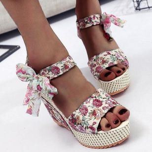 Women's Lace-up Flower Slingbacks Nubuck Wedge Heel Sandals Platforms_3