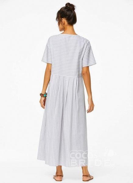 Plus Size Tunic Stripe Round Neckline Casual Pockets Plus Dress_4