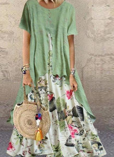 Orange Plus Size Tunic Floral Round Neckline Casual Maxi Plus Dress_4