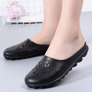 Women's Hollow-out Flower Closed Toe Slingbacks Flat Heel Sandals_7