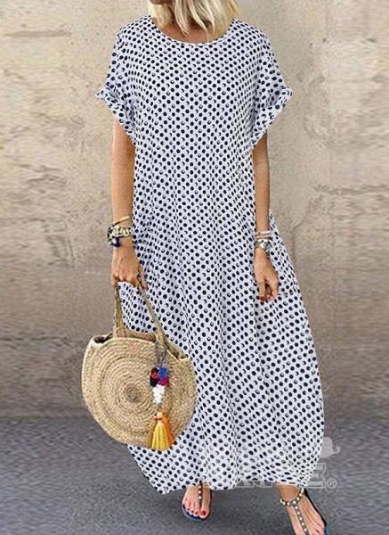Dark Blue Tunic Polka Dot Round Neckline Casual Midi Plus Dress_6