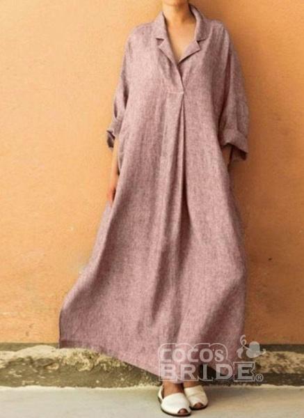 Black Plus Size Solid Collar Casual Maxi A-line Dress Plus Dress_3