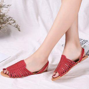 Women's Braided Strap Slingbacks Flat Heel Sandals_4