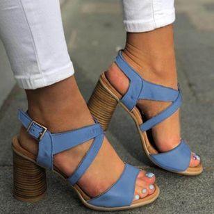 Women's Buckle Slingbacks Chunky Heel Sandals_1