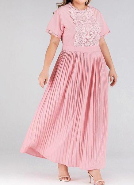 Pink Plus Size Solid Round Neckline Elegant Lace Maxi Plus Dress_1