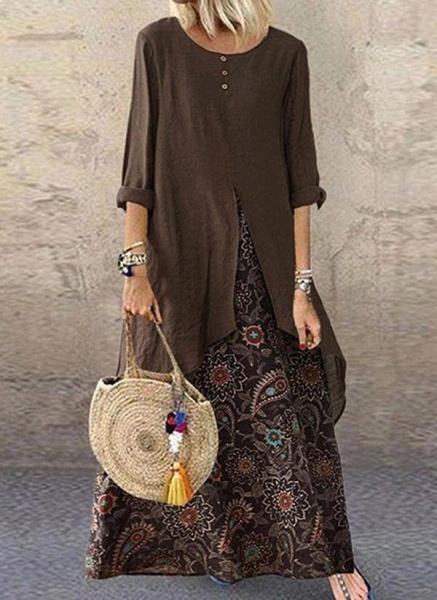 Brown Plus Size Tunic Color Block Round Neckline Casual Buttons Plus Dress_1