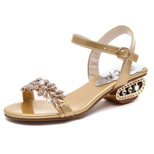 Women's Rhinestone Buckle Heels Low Heel Sandals_2
