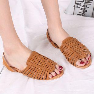 Women's Braided Strap Slingbacks Flat Heel Sandals_5