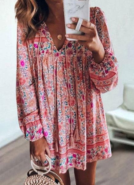 Casual Floral Tunic V-Neckline Shift Dress_2