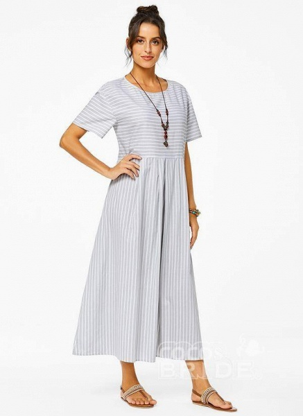 Plus Size Tunic Stripe Round Neckline Casual Pockets Plus Dress_3