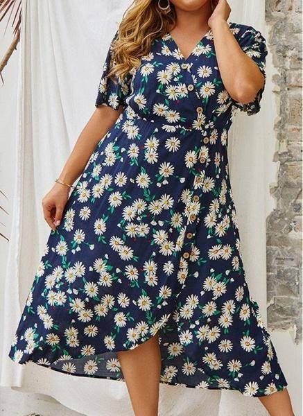 Royal Blue Plus Size Floral V-Neckline Boho Buttons Midi Plus Dress_1