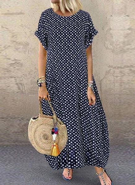 Dark Blue Tunic Polka Dot Round Neckline Casual Midi Plus Dress_1