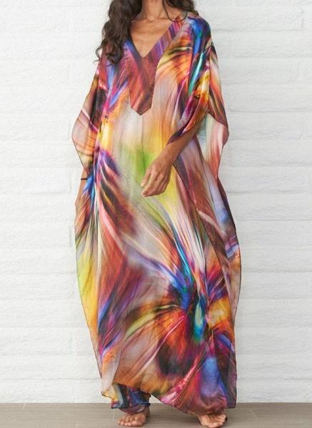 Brown Plus Size Color Block V-Neckline Casual Arabian Maxi Shift Dress Plus Dress_1