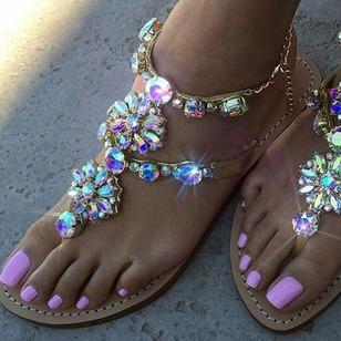 Women's Rhinestone Flats Sparkling Glitter Flat Heel Sandals_1