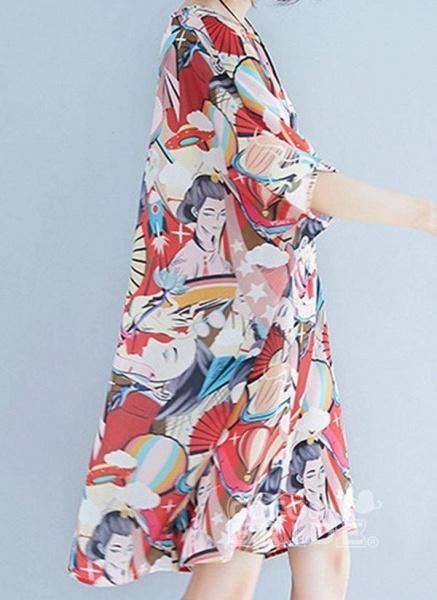 Pink Plus Size Tunic Color Block Round Neckline Casual Above Knee Plus Dress_6