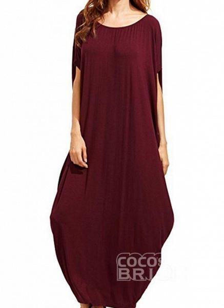 Black Plus Size Tunic Solid Round Neckline Casual Maxi Plus Dress_8