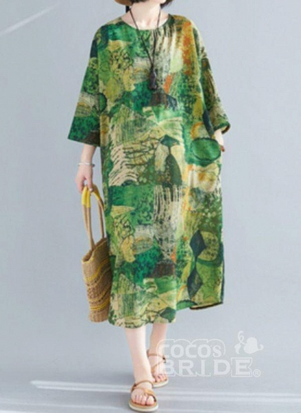 Plus Size Tunic Color Block Round Neckline Midi Plus Dress_3