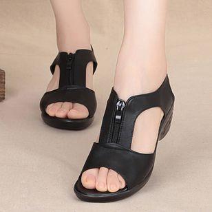 Women's Peep Toe Low Heel Sandals_5