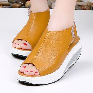 Women's Velcro Peep Toe Flat Heel Sandals_2