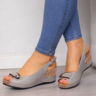 Women's Buckle Peep Toe Wedge Heel Sandals_2
