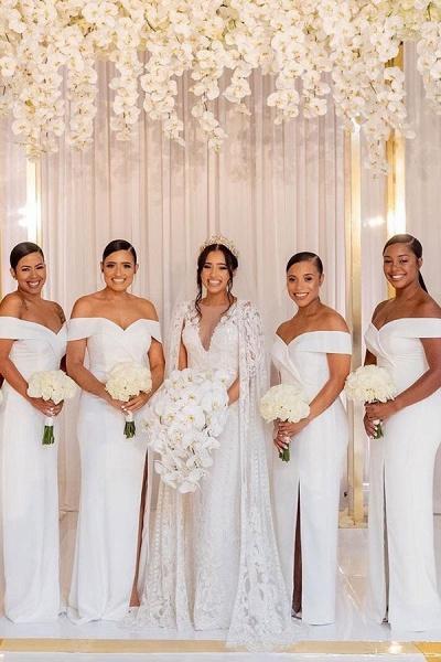 White Simple Off-the-shoulder V-neck Slit Bridesmaid Dresses_2