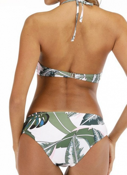Polyester Halter Knotted Floral Bikinis Swimwear_3