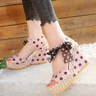 Women's Slingbacks Heels Cloth Wedge Heel Sandals Wedges_4