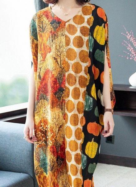 Orange Plus Size Tunic Color Block V-Neckline Casual Midi Plus Dress_1