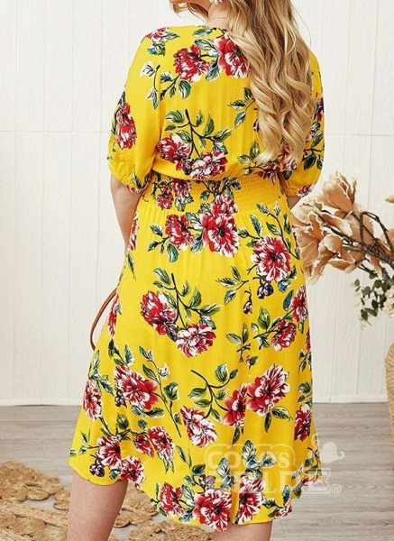 Yellow Plus Size Floral V-Neckline Casual Midi X-line Dress Plus Dress_2