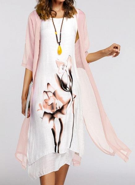 Floral Wrap Round Neckline Midi X-line Dress_25