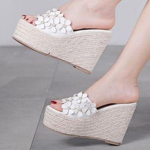 Women's Flower Peep Toe Wedge Heel Sandals_7