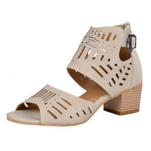 Women's Hollow-out Peep Toe Chunky Heel Sandals_2