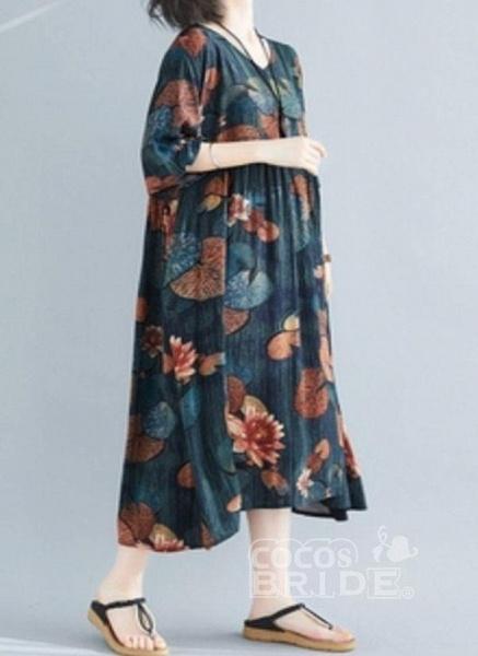 Dark Green Plus Size Tunic Floral V-Neckline Casual Midi Plus Dress_3