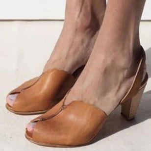 Women's Peep Toe Slingbacks Cone Heel Sandals_4