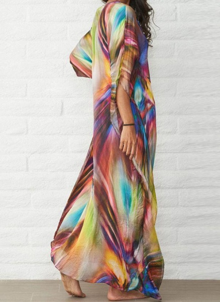 Brown Plus Size Color Block V-Neckline Casual Arabian Maxi Shift Dress Plus Dress_2