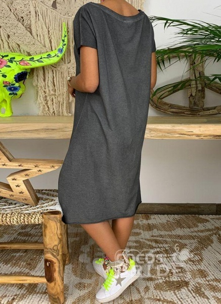 Dark Gray Plus Size Tunic Solid Boat Neckline Casual Knee-Length Plus Dress_4