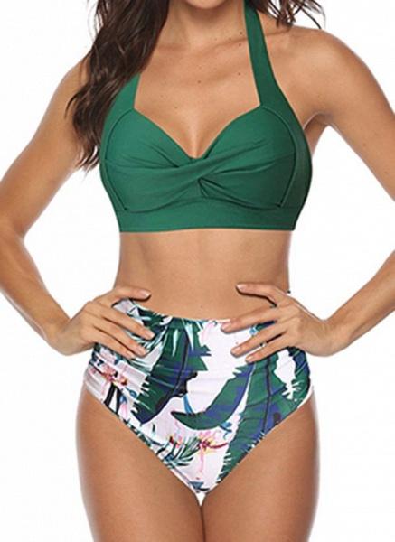 Polyester Halter Pattern Bikinis Swimwear_2