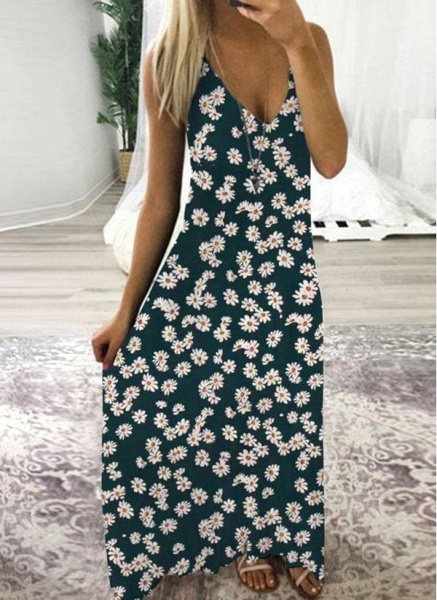 Green Casual Floral Tunic Camisole Neckline Shift Dress