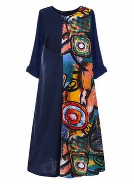 Red Plus Size Color Block Round Neckline Casual Maxi Shift Dress Plus Dress_1