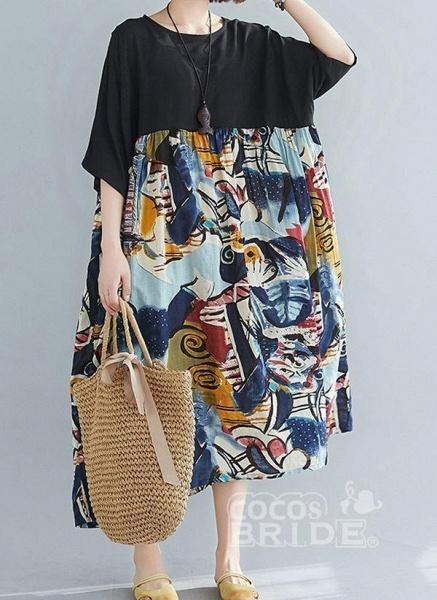 Black Plus Size Tunic Geometric Round Neckline Casual Midi Plus Dress_3