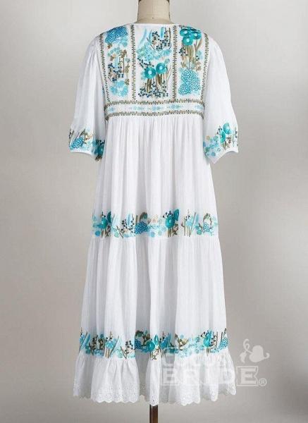 Mint Green Plus Size Tunic Floral V-Neckline Boho Tassel Plus Dress_2
