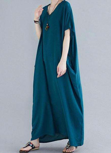 Royal Blue Plus Size Tunic Solid V-Neckline Casual Maxi Plus Dress_10
