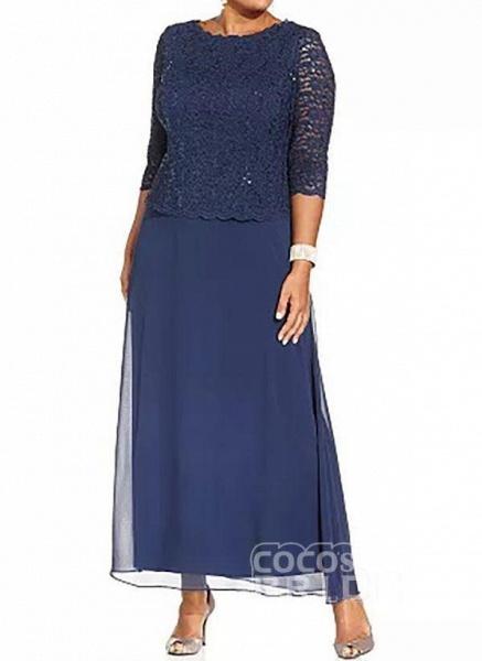 Blue Plus Size Tunic Solid Round Neckline Casual Lace Plus Dress_2