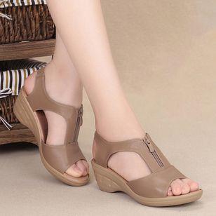 Women's Peep Toe Low Heel Sandals_4