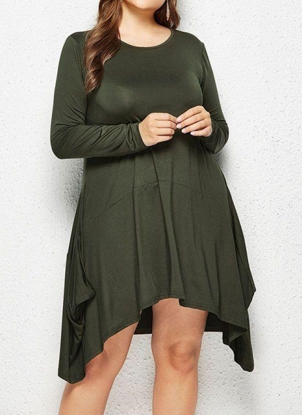 Military Green Plus Size Skater Solid Round Neckline Casual Above Knee Plus Dress_1