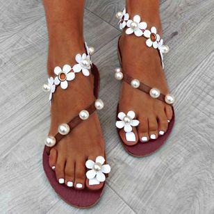 Women's Applique Pearl Toe Ring Flat Heel Sandals_2