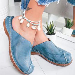 Women's Split Joint Closed Toe Round Toe Slingbacks Flat Heel Sandals_4