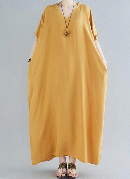 Royal Blue Plus Size Tunic Solid V-Neckline Casual Maxi Plus Dress_13
