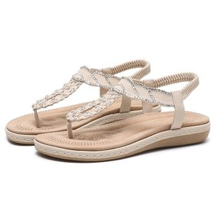 Women's Rhinestone Flip-Flops Flat Heel Sandals_5